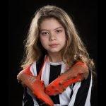 young girl football